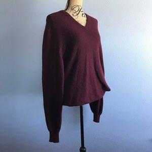Brooks Brothers Burgundy V- Neck Cashmere Sweater